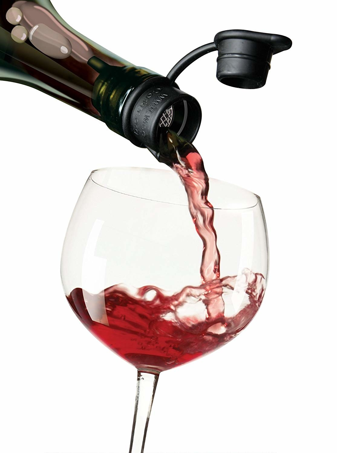 wine bottle with the wine stopper on it and popped open as the wine falls into a stemmed glass
