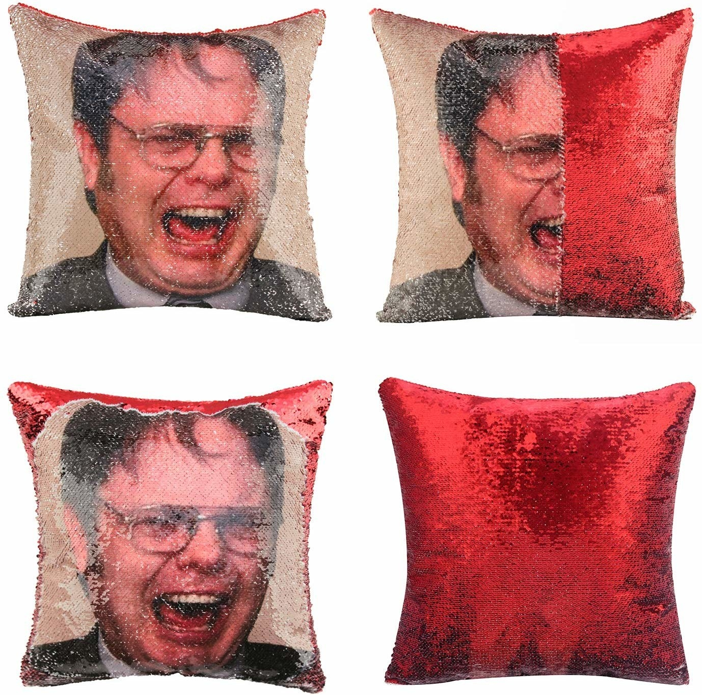 sequin pillow that can be flipped between an image of Dwight Schrute screaming and red sequins
