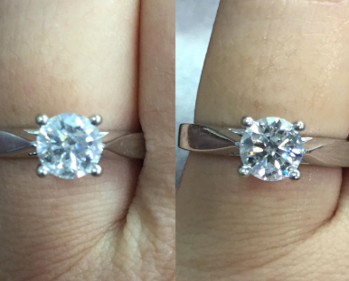 to the left: a clouded diamond ring, to the right: the ring sparkling after using the brush
