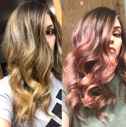 Reviewer's before-and-after of blonde hair and then pink hair