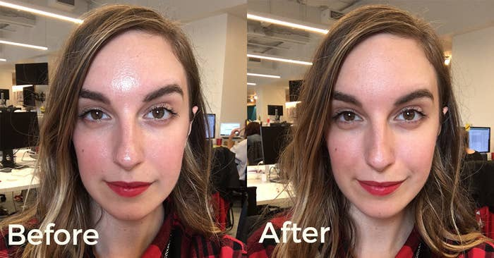 BuzzFeeder with shiny, oily skin in the first photo and smooth, even skin without shine in the second