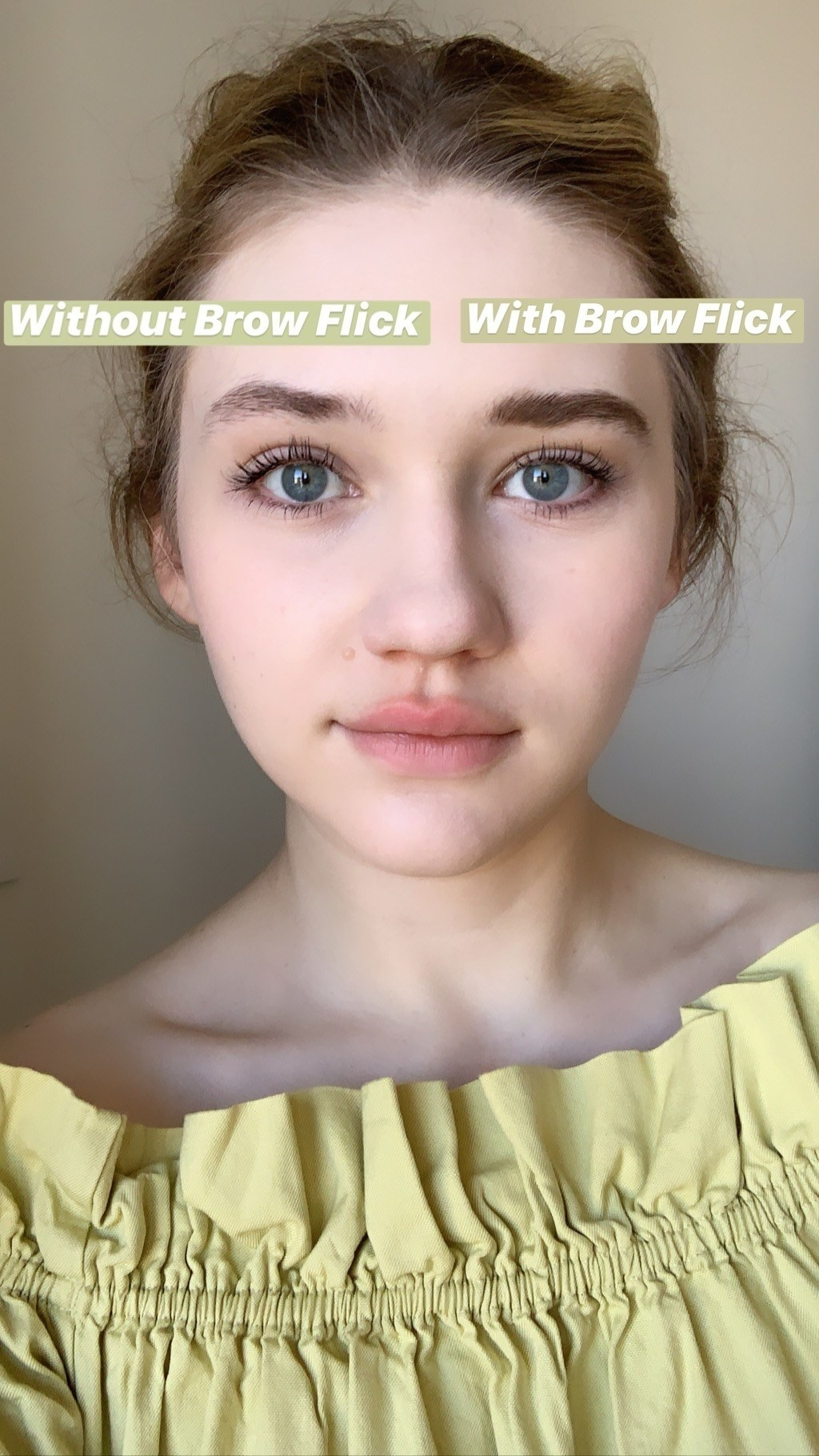 before and after photo of BuzzFeed Senior Editor Maitland with and without the brow product