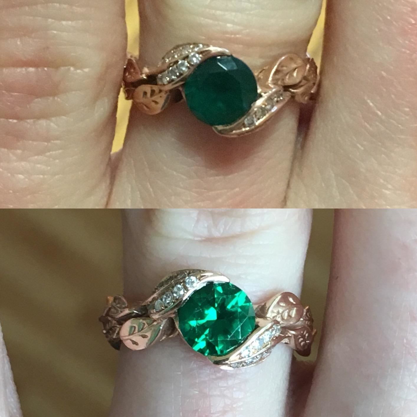 top photo shows a reviewers ring looking dark and dull. the bottom photo shows the same reviewer's ring after it's been cleaned. It looks clear and shiny.