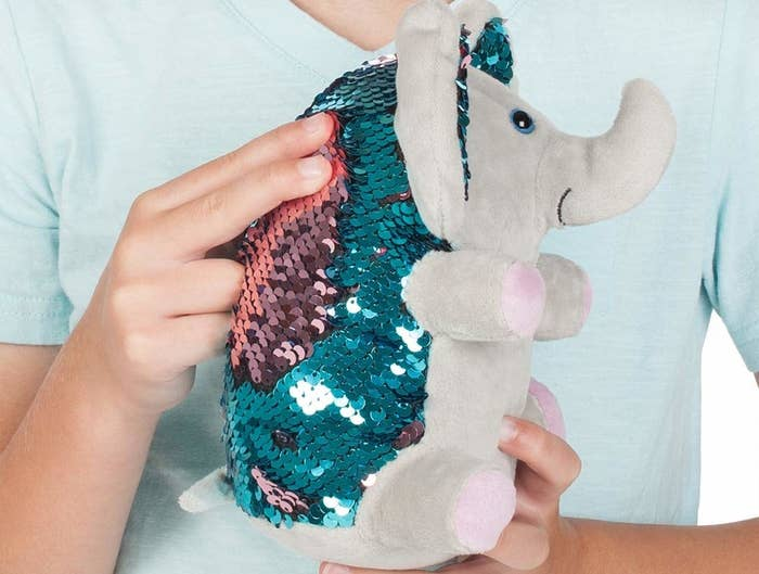 Weighted elephant sensory toy with reversible colored sequins