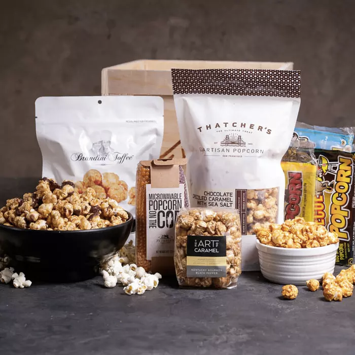 crate with different types of sweet and savory popcorn