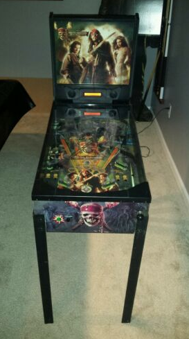 A Pirates of the Caribbean-themed pinball machine