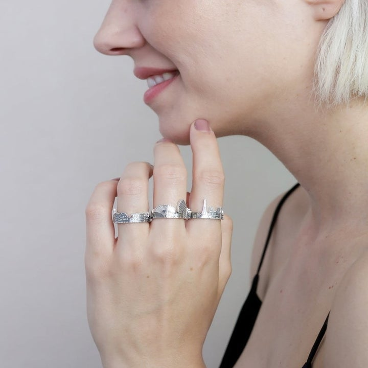 a far angle of the rings on a model's hand