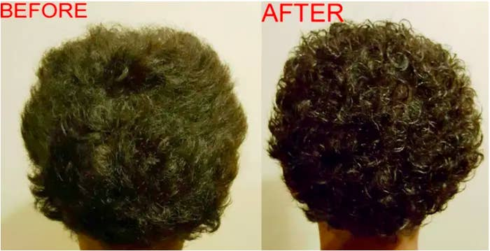 a before and after of a reviewers hair brushed out and next to it is their curls more defined by using the gel