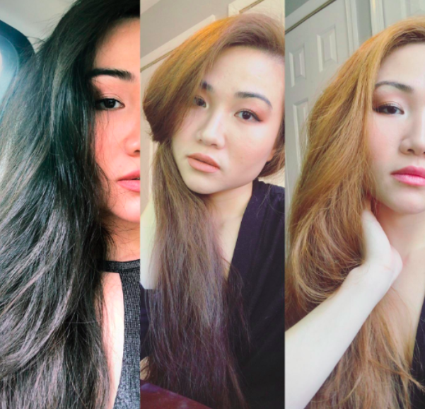 three images of a reviewer lightening their hair bit by bit from brown to strawberry blonde
