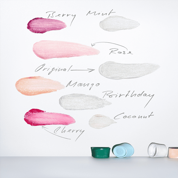 Swatches of the different lip balm colors and flavors
