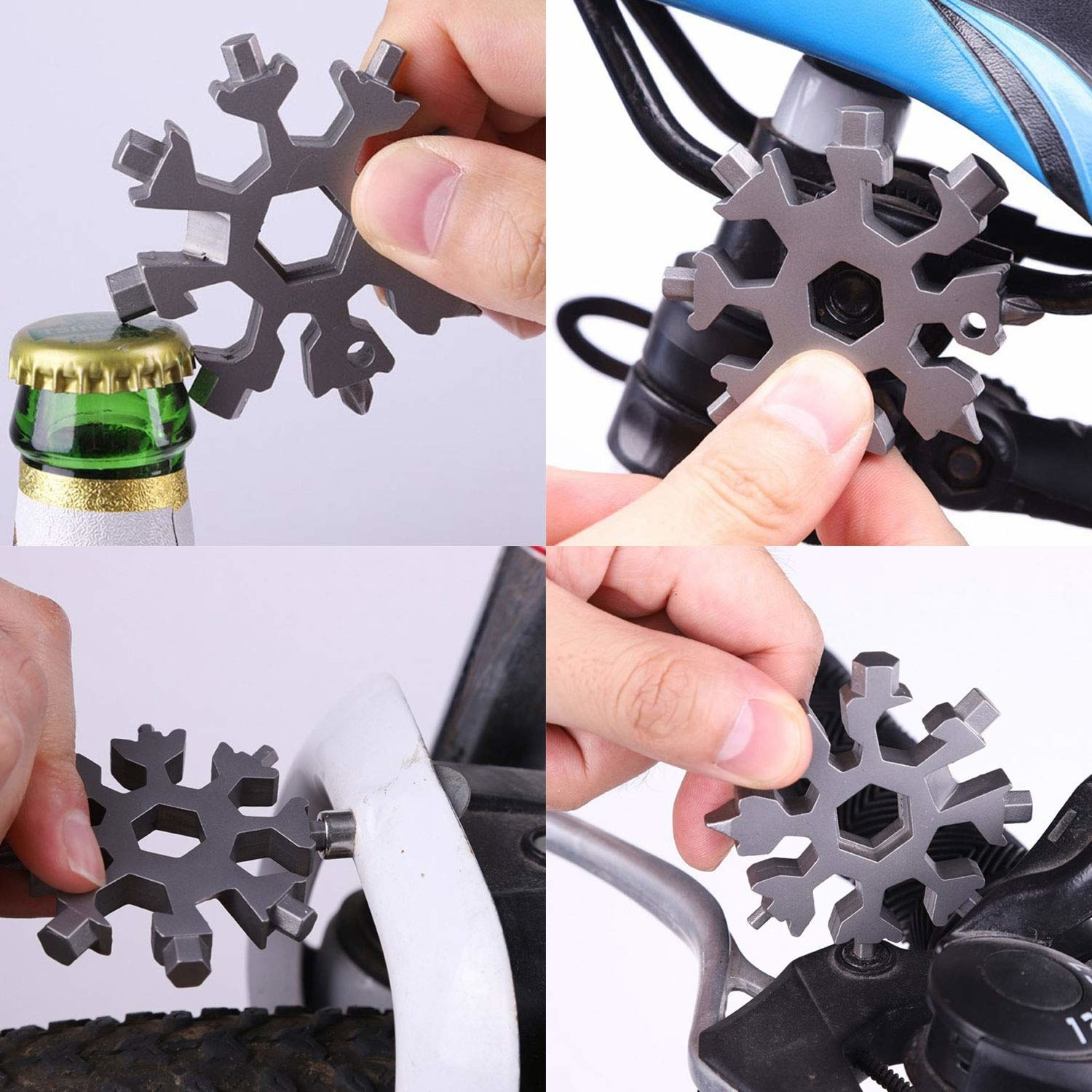 A person using the snowflake tool on a bottle and a bike