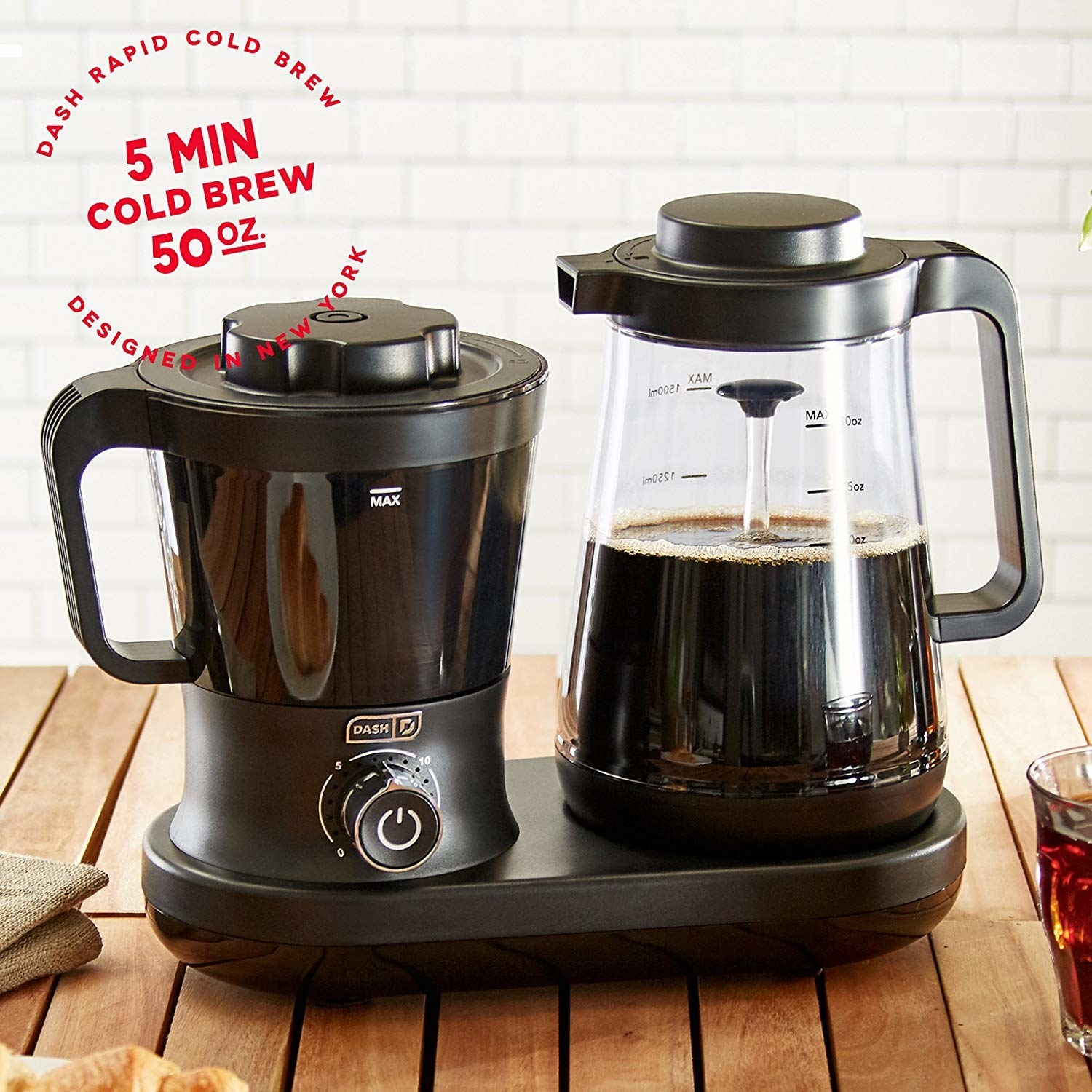 The five minute rapid cold brew maker, that makes up to 50 ounces of coffee, with a pitcher, coffee maker with dial