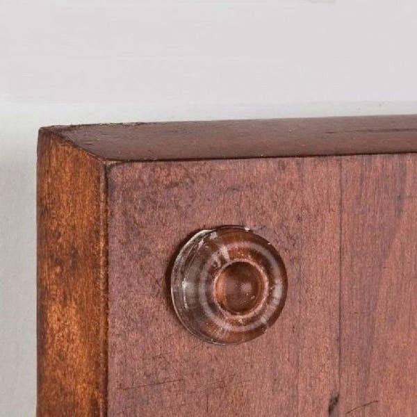 A cabinet door with clear bumper