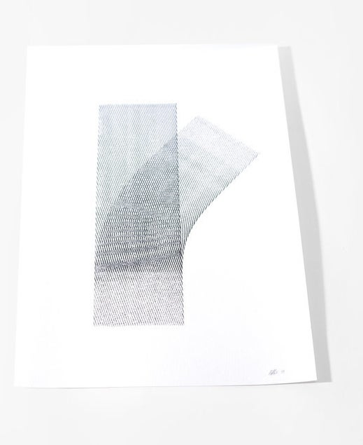 A print of black ink lines rolled along white paper