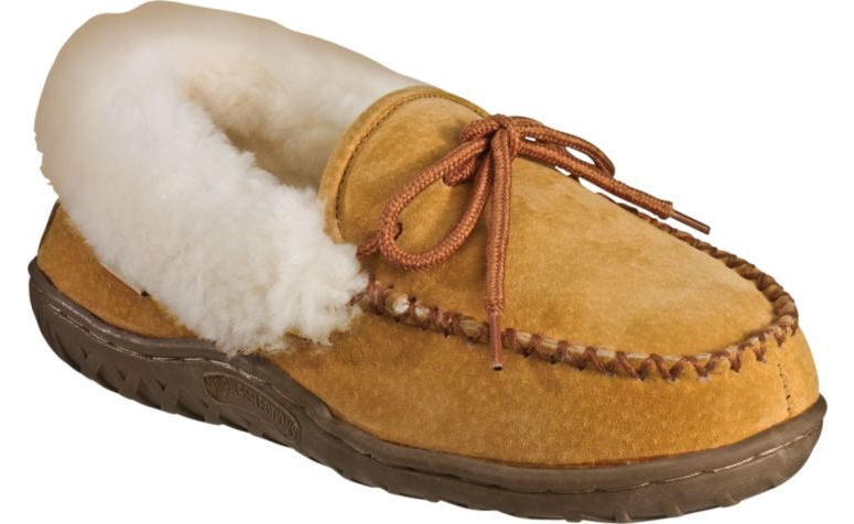The tan suede slippers