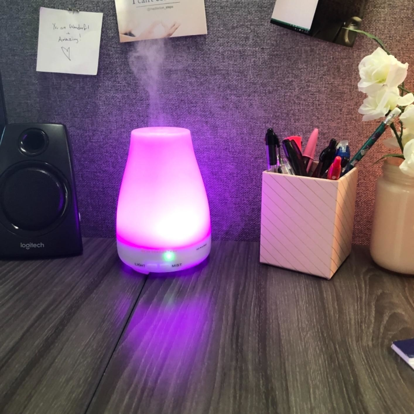 The humidifier on a desk