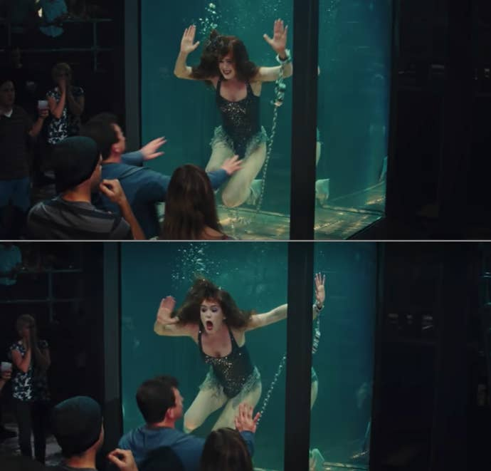 "Isla Fisher trapped submerged in water in a cage in ""Now You See Me"""