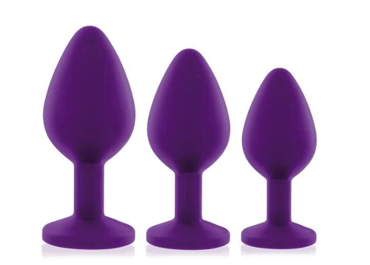 The three butt plugs ranging from small to large