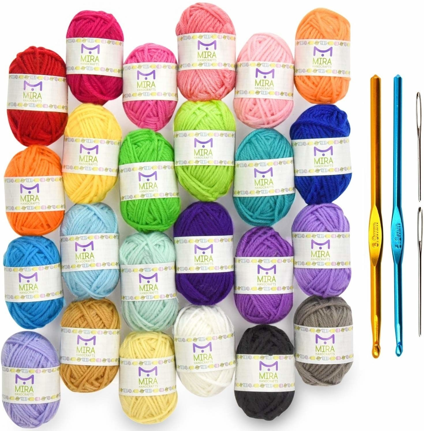 Balls of yarn in various colors and two crochet hooks and a needle