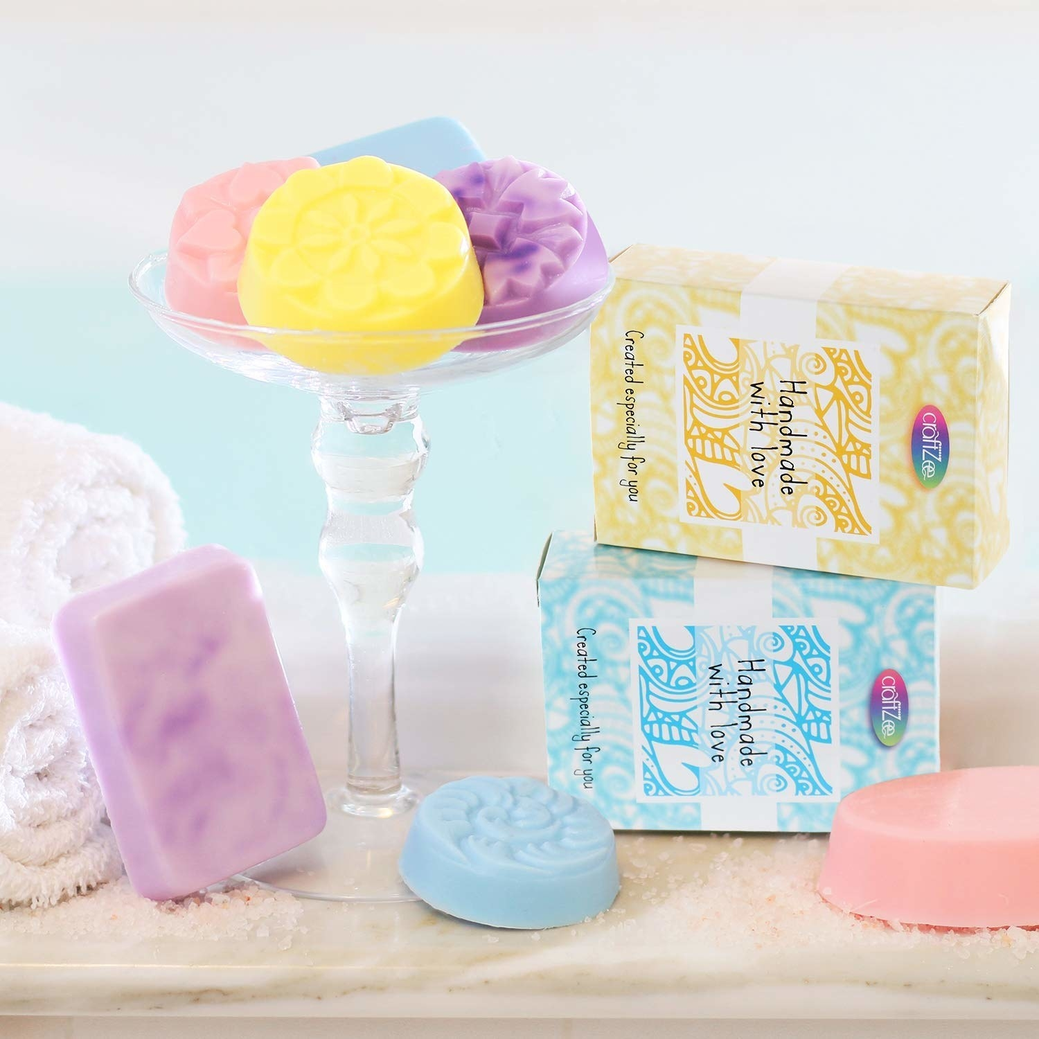 Brightly colored soaps on a stand