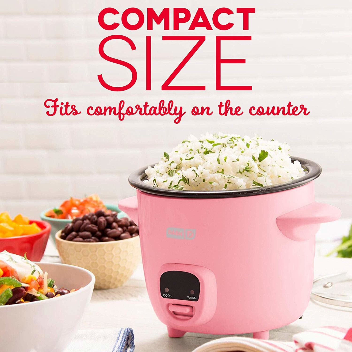 compact rice cooker full of rice