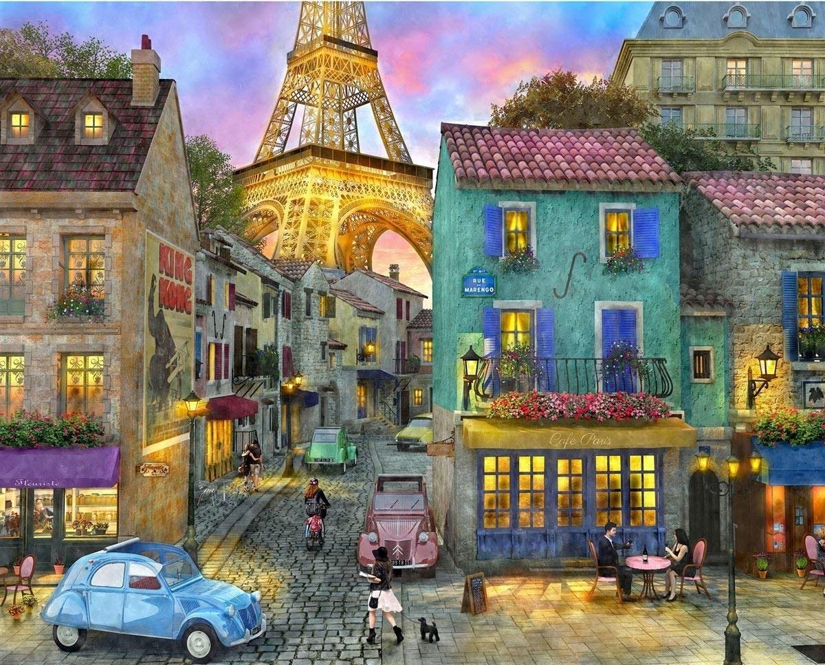 The puzzle showing a Paris city street scene