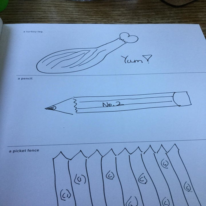 Reviewer's drawings for the prompts: a turkey leg, a pencil, and a picket fence