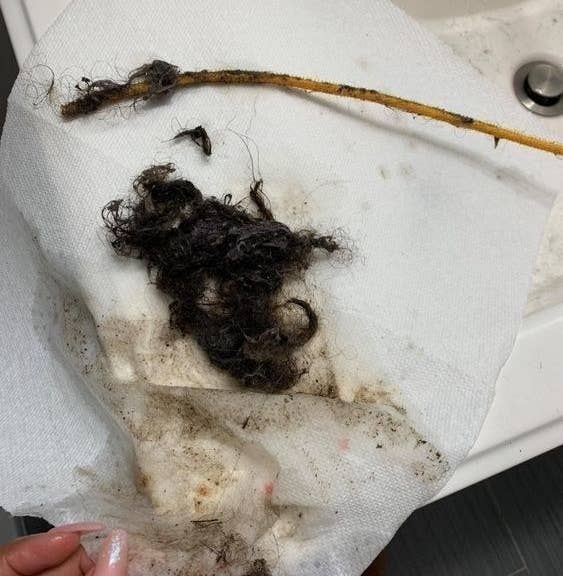 drain snake after removing hair from drain