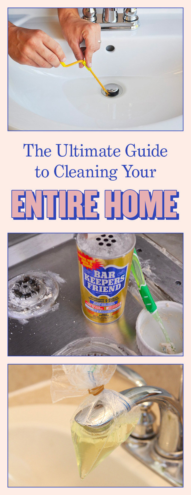 "A pinterest header titled ""The ultimate guide to cleaning your home"""