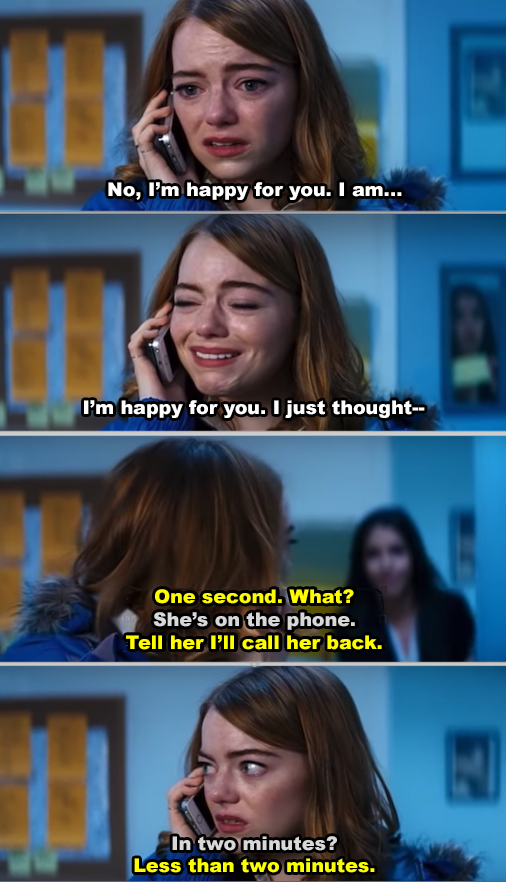 "Emma Stone during an audition in ""La La Land"""