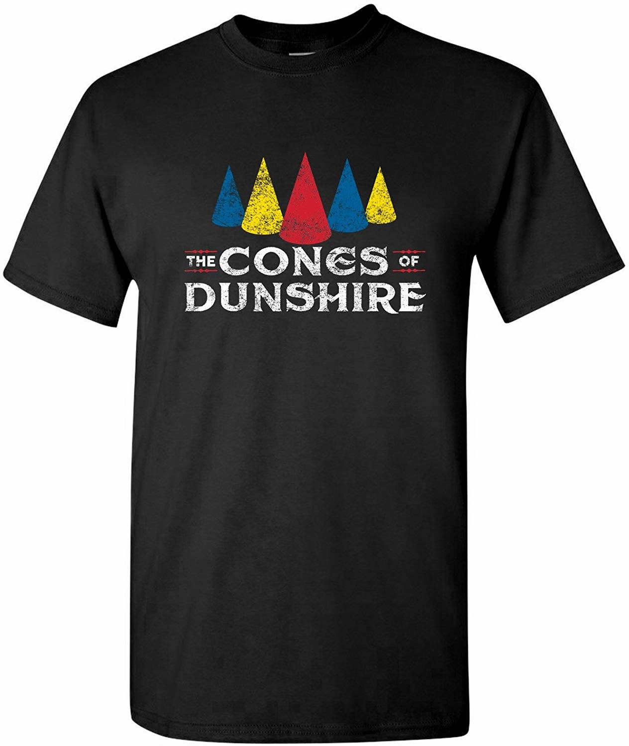 "The crew neck T-shirt that reads, ""The Cones of Dunshire."""