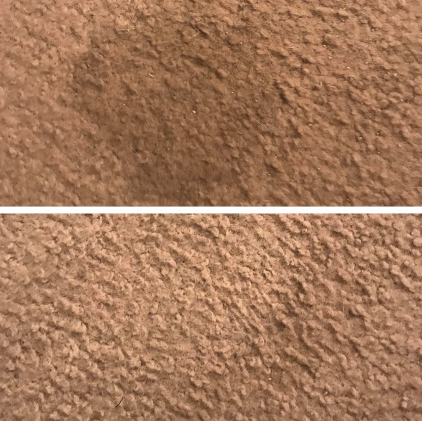 Reviewer before and after of their carpet stained and clean after using pads
