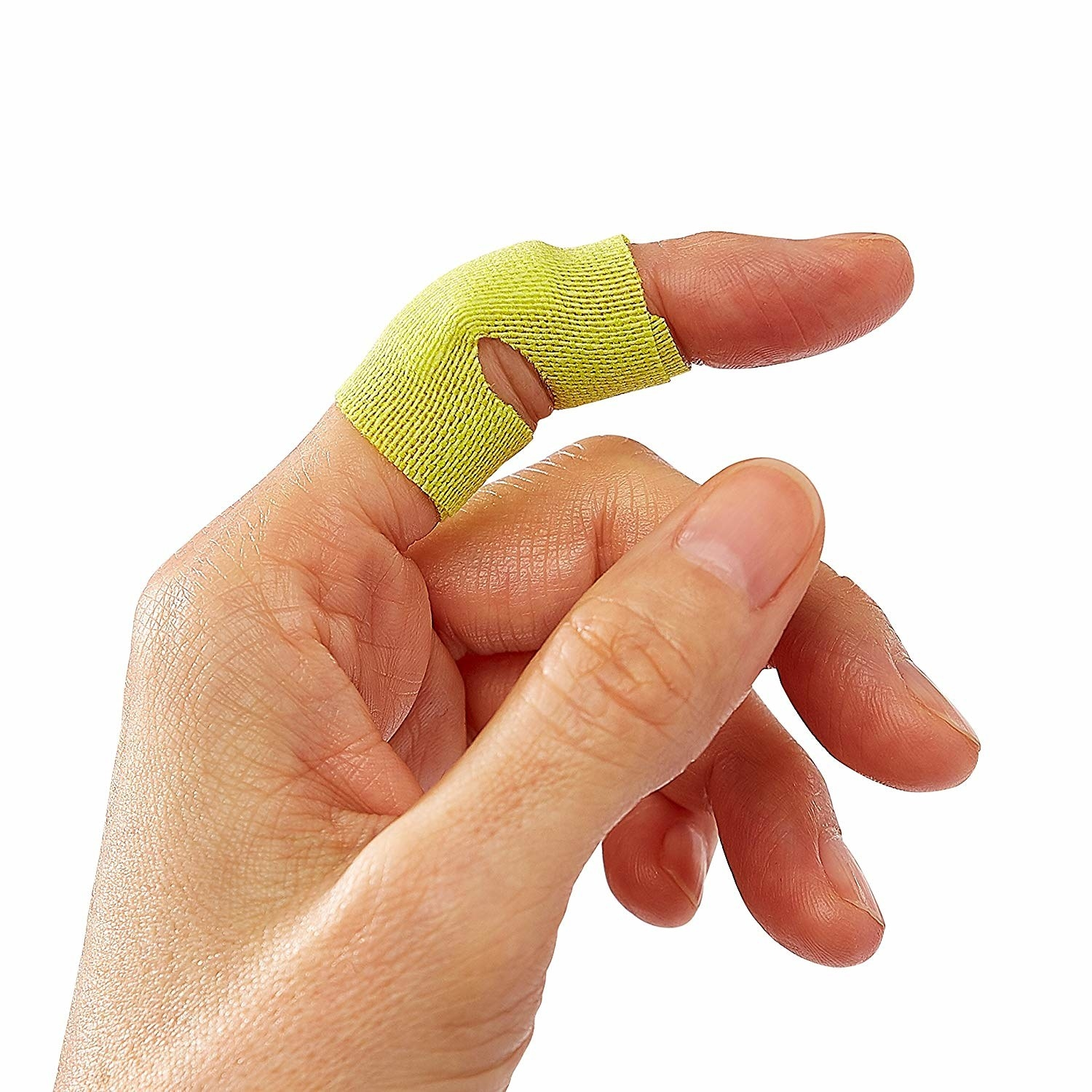 hand with neon green bandage wrapped securely around knuckle on hand