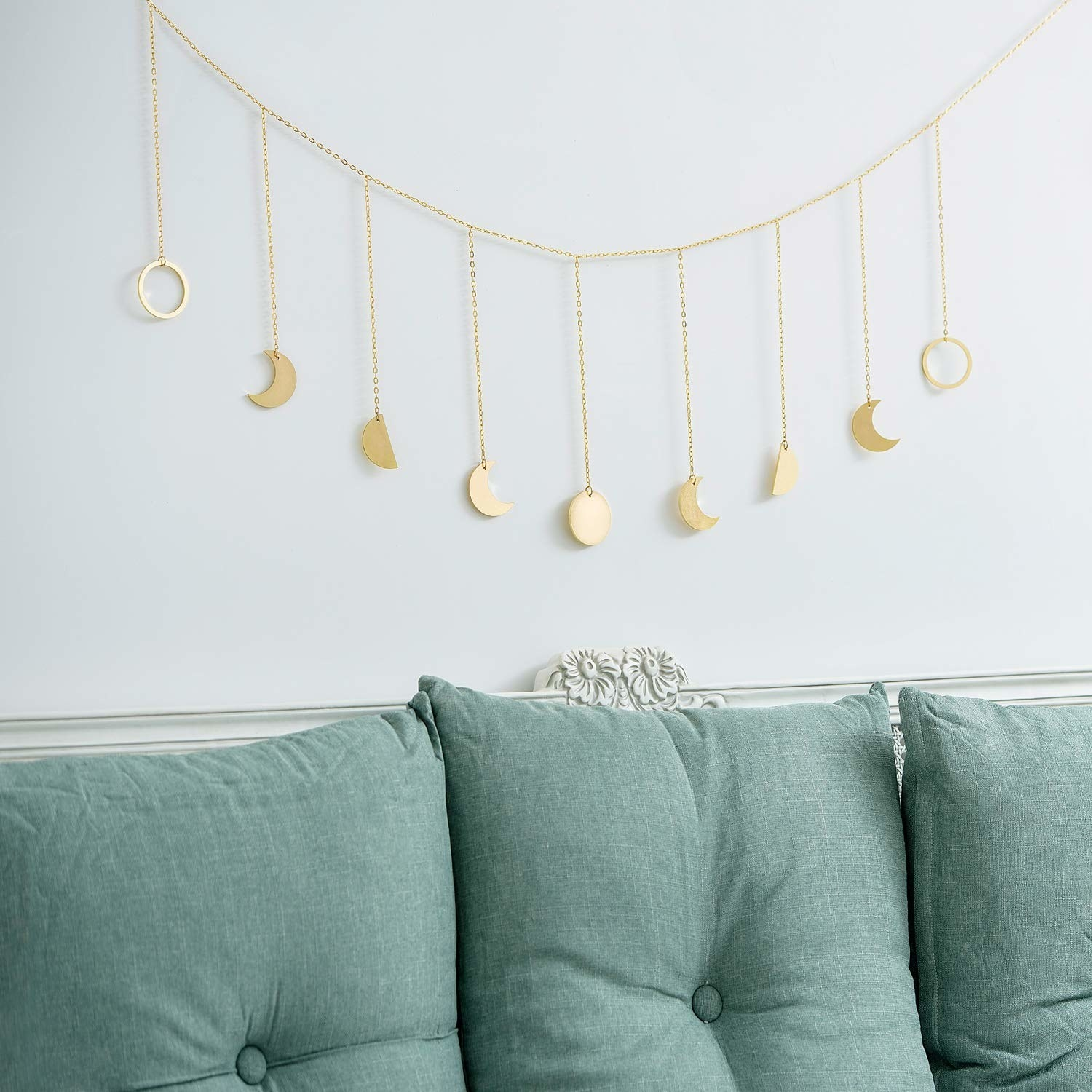 Gold garland with full moon phase charms