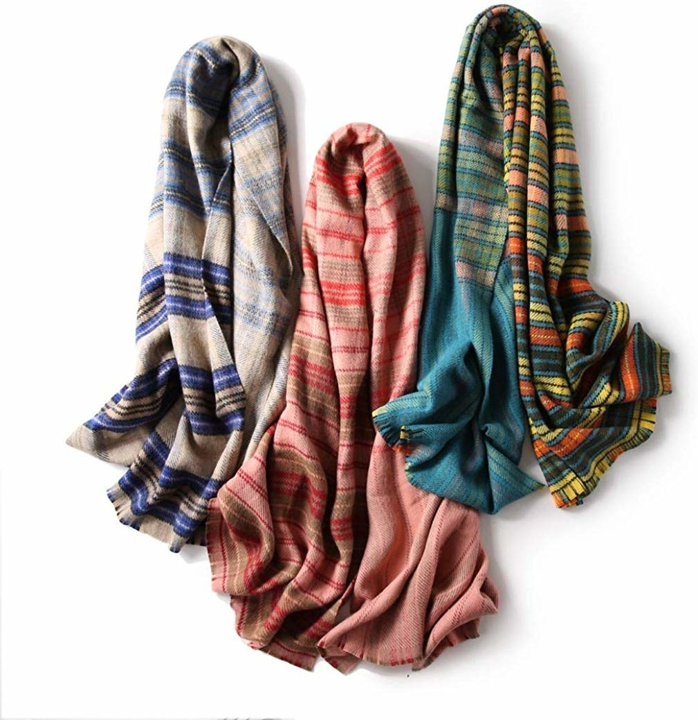 A variety of the scarves laid out