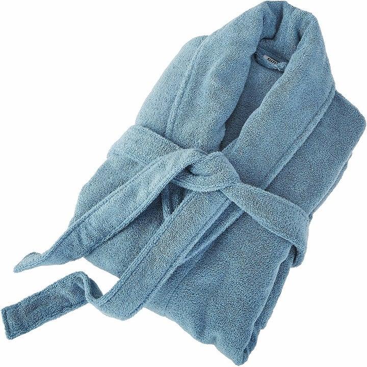 A folded bathrobe in blue