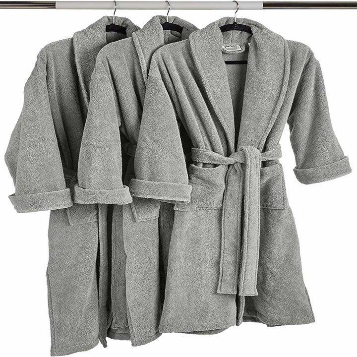 The bathrobe hanging in gray