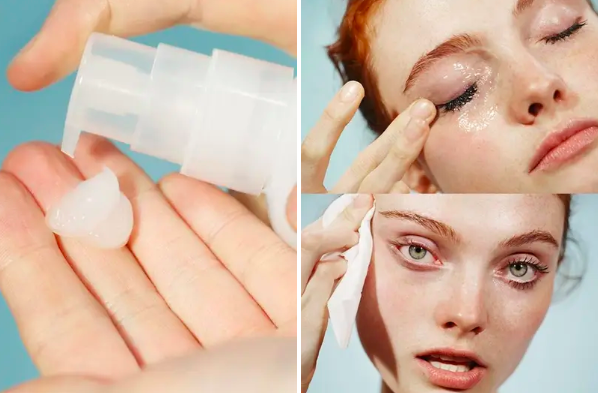 A series of images showing the pump applicator and the gel-like texture of the cleanser, as well as a shot of a model rubbing the cleanser on their eye and a before and after show that clearly shows how well the cleanser removed the same mode's eye makeup