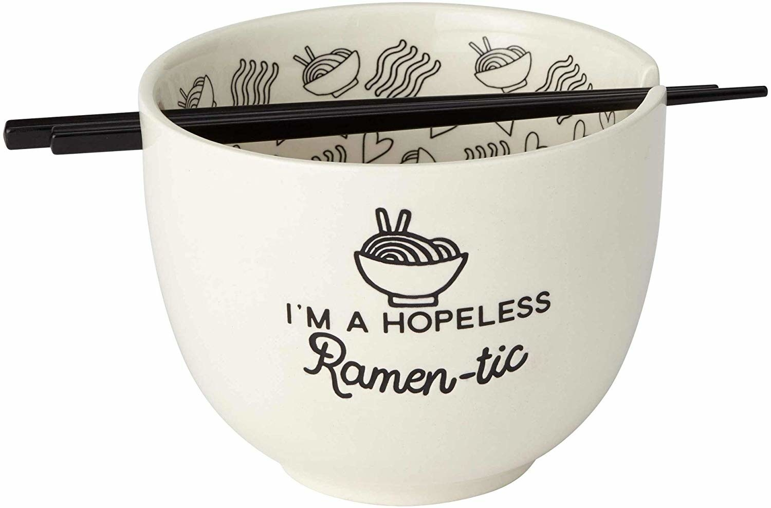 "The bowl that says ""i'm a hopeless ramen-tic"" on the wise with a noodle print inside"