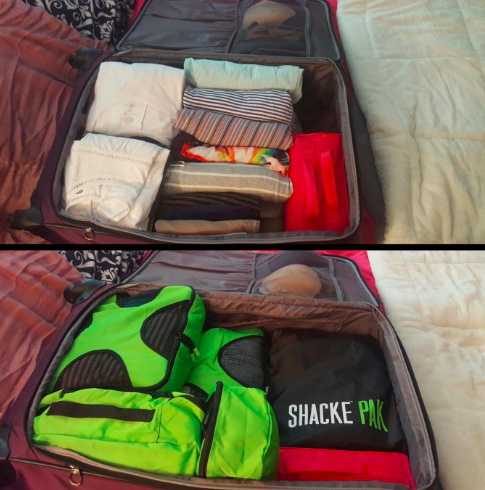 Reviewer image of the packing cubes in a suitcase