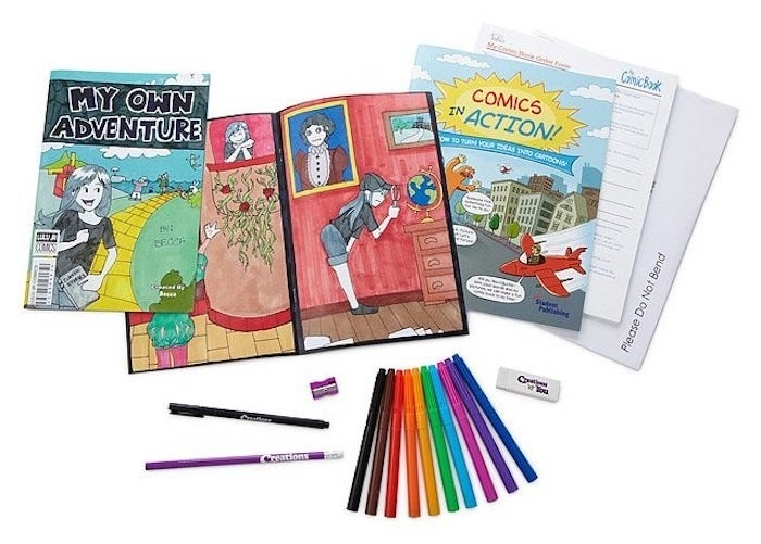 the comic book, the cover, and colorful pencils