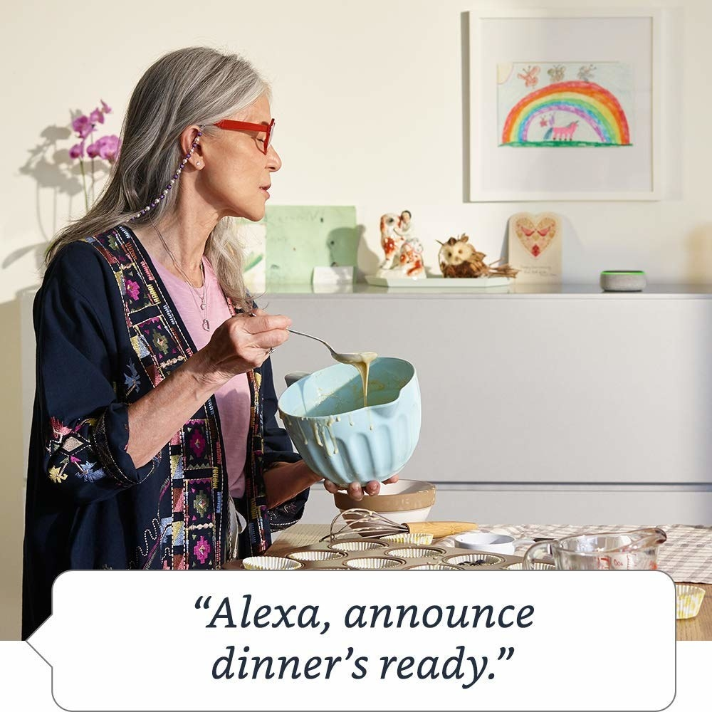 Model asking Echo Dot to announce that dinner's ready