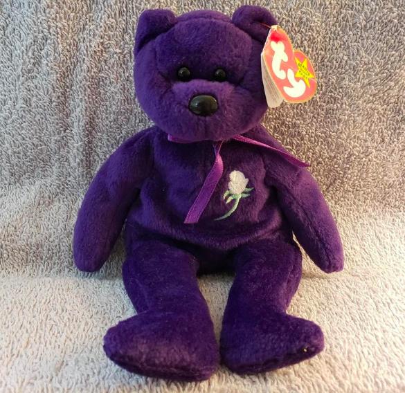 A Princess Diana purple Beanie Baby toy