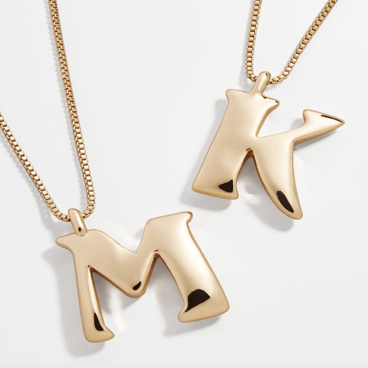 """The """"K"""" and """"M"""" gold necklaces"""