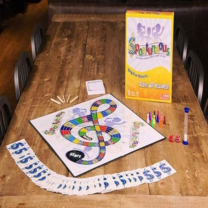 the game board plus the cards spread out and the box