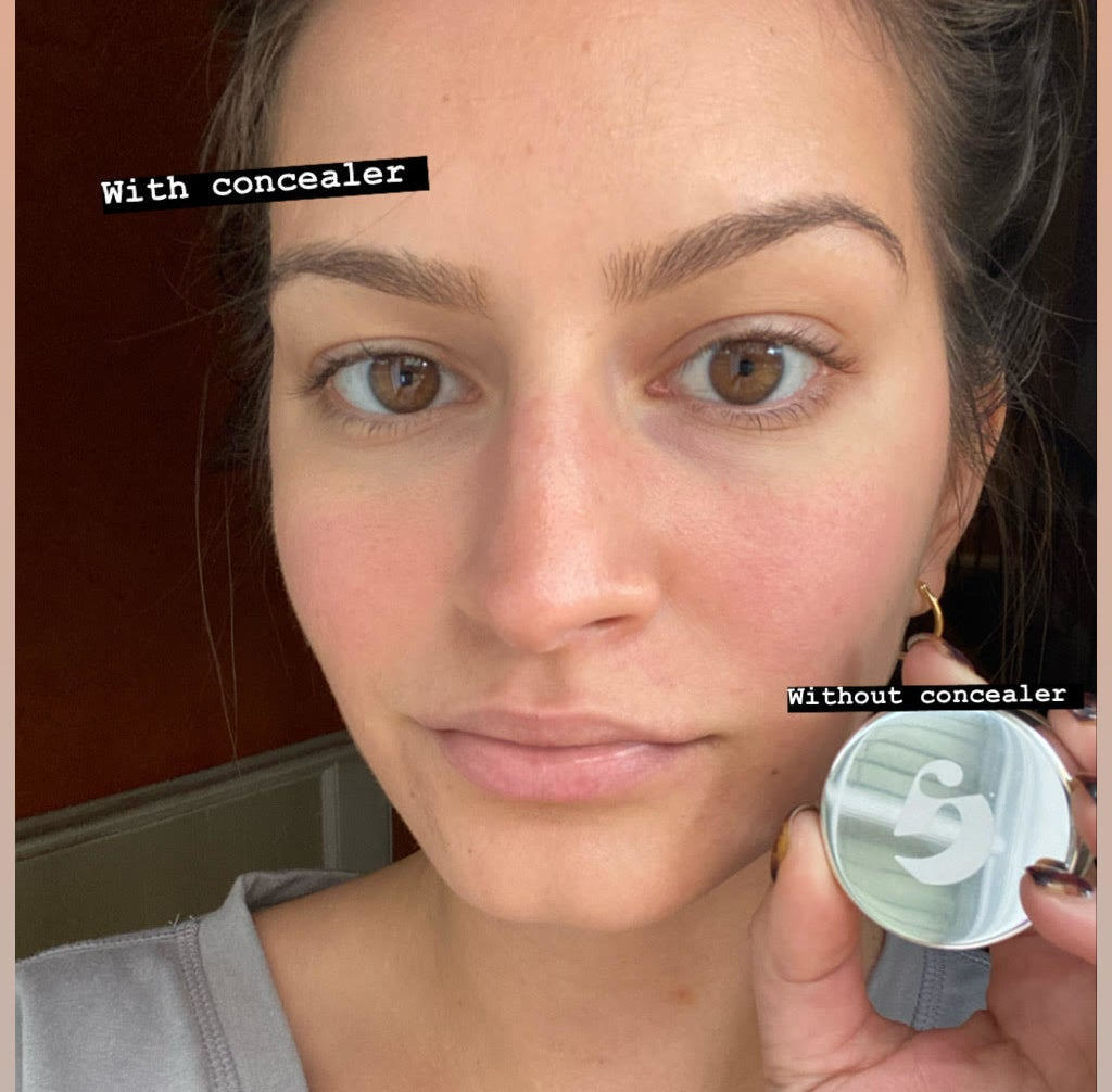 "AnaMaria wearing concealer under one eye labeled ""with concealer"" and not on the other side"