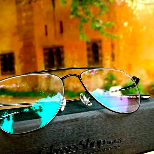 glasses on an outside table