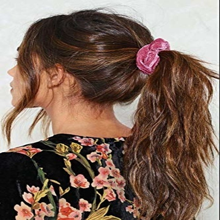 A model wearing one of the scrunchies.