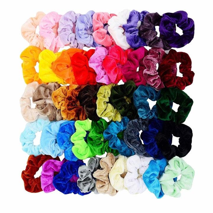 All 45 color options of the velvet scrunchies.