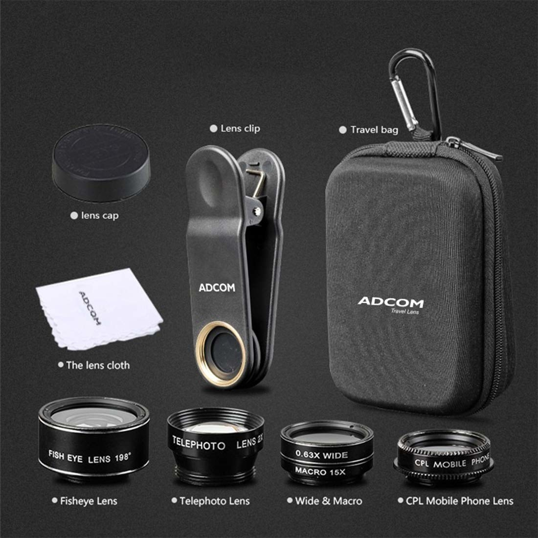 Various items included in the kit, such as the lenses, lens cloth, clip, bag, and lens cap.